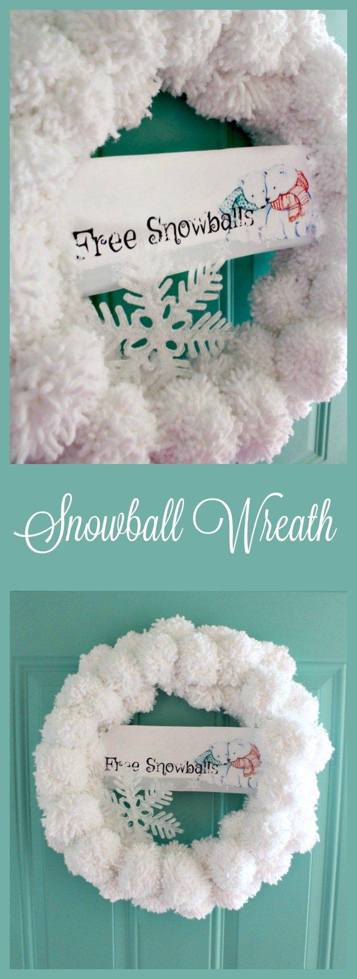 DIY Christmas Wreath, Making Pom Poms, Snowball, DIY Wreath, Snowball Door Decorations, Snowball Wreath