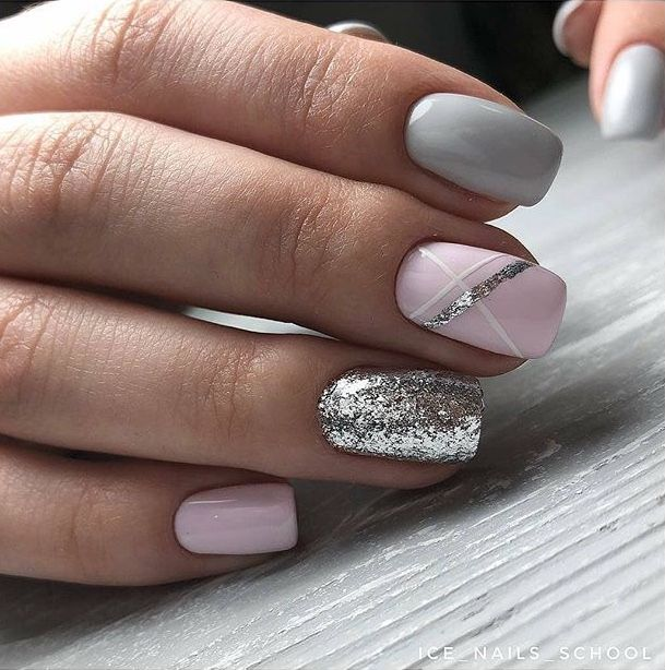 Pink Silver Grey Gel Acrylic Nails Shellac Nail Designs Nail Designs Shellac Nails