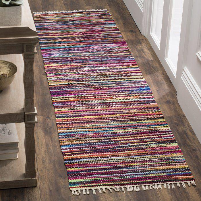 Samaniego Abstract Handwoven Flatweave Cotton Multi Color Area Rug Handmade Rag Flat Weave