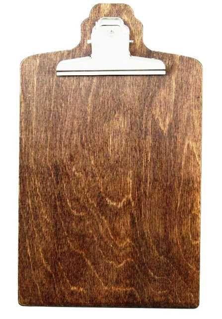 dřevěný jídelní lístek s klipem