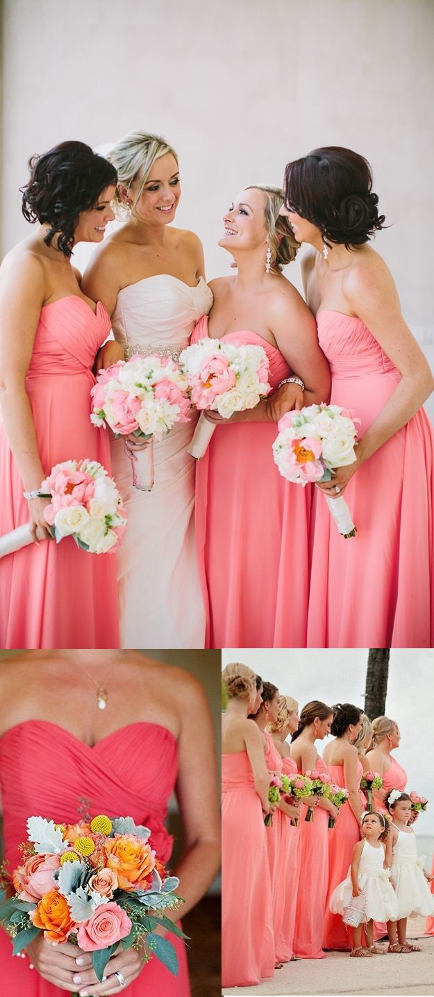Blush Pink Empire Bridesmaid Dress with Ruching Detail, Simple Sweetheart Chiffon Bridesmaid Dresses, Floor-length Dress for Bridesmaid, #01012762