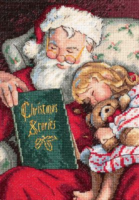 Santa reading a story - I would love to do this cross stitch!
