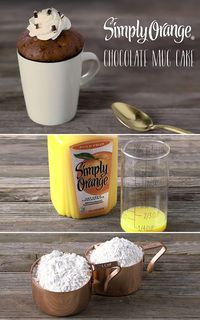 These single serve Simply Orange® Chocolate Mug Cakes go from batter to moist and fluffy cake in only 2 minutes.  The delicious, fresh-squeezed taste of Simply Orange blends flawlessly with the rich, chocolate batter to create a quick and easy dessert that leaves everyone satisfied.