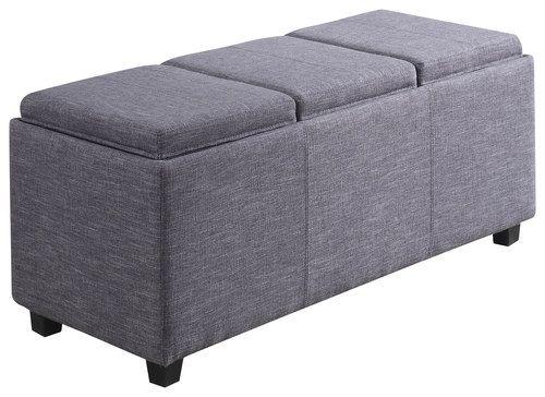 Simpli Home - Avalon Storage Ottoman Bench - Slate Gray