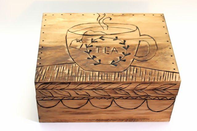 punk projects: Wood Burned Tea Box