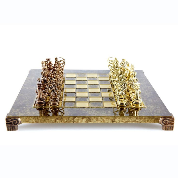 Handcrafted Metallic Chess - Chess Set - Archers (Small) - Gold/Bronze brown