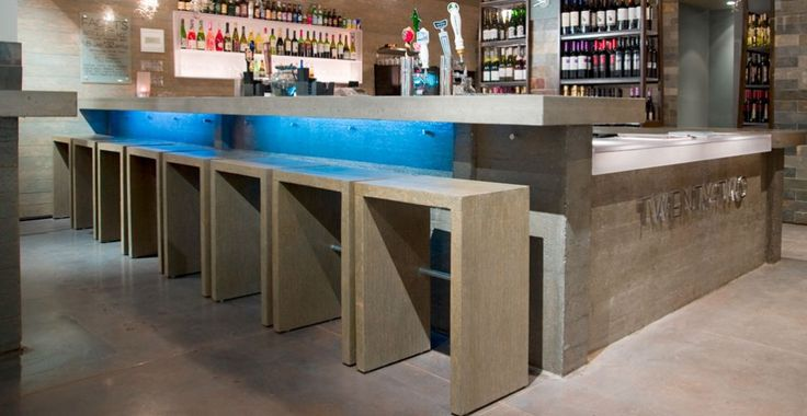 Concrete Bar Countertop and Walls by Reaching Quiet Design