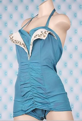 Vintage Swimsuits - Authentic Vintage 1950's Beaded Petal Bust Bombshell Swimsuit with Front Ruching in Ocean Blue
