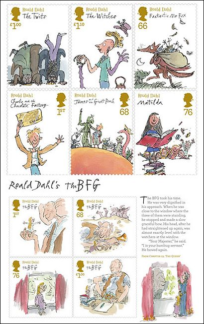 The Royal Mail has produced Roald Dahl stamps! They are available from the 10th January and can be shipped worldwide. Worldwide! (via @prettybooks) #roalddahl