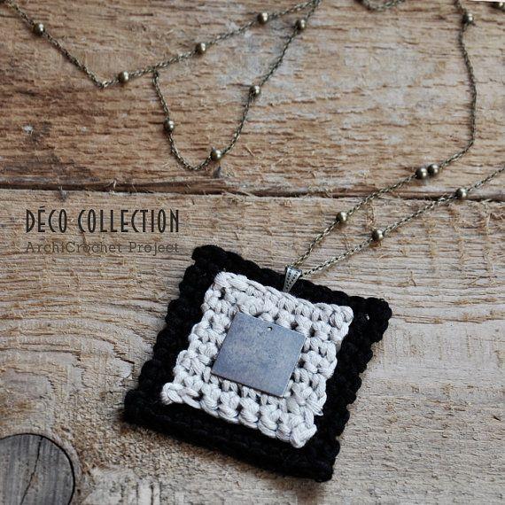 Cotton brass square pendant, crochet pendant, pendant neclace, fiber pendant, modern design, handmade in Italy.
