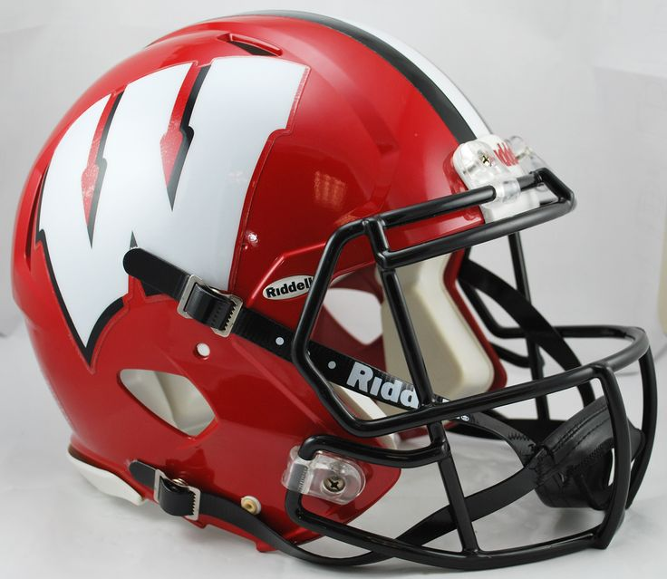 Wisconsin Badgers Riddell Authentic Speed Helmet - Red with Black Mask