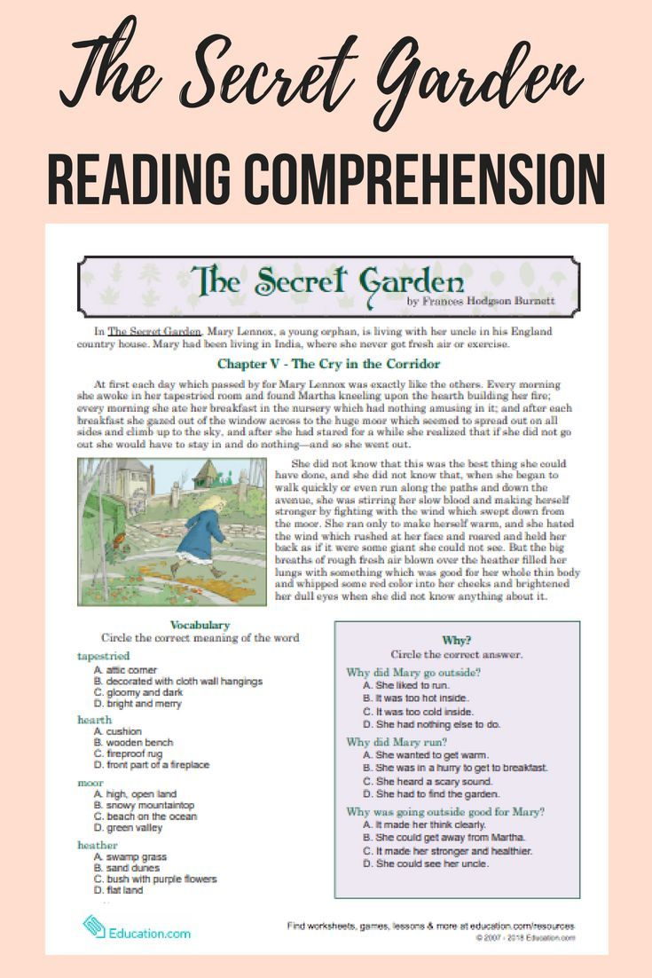 Download This Free Printable Selection From The Children S Classic The Secret Garden Reading Comprehension Reading Comprehension Resources Reading Worksheets [ 1102 x 735 Pixel ]