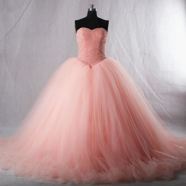 Sweetheart pink organza princess long ball gown, formal puffy prom dresses with pearls, wedding dress