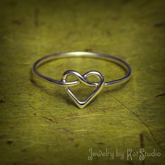 Heart Knot Ring - love knot ring - Infinity Heart ring -
