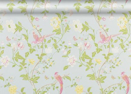 Summer Palace Duck Egg Floral Wallpaper at LAURA ASHLEY
