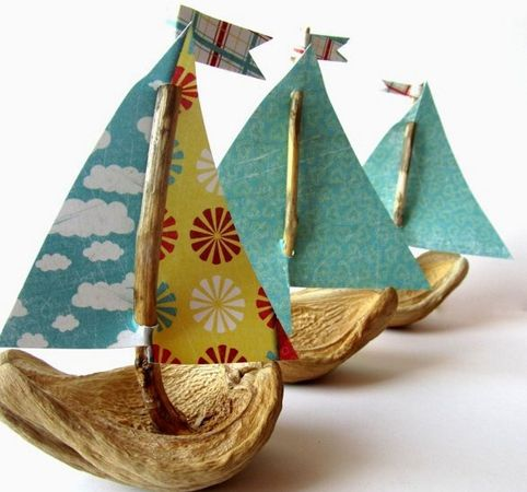 "For the Montessori Science Experiment ""Boats"" DIY Little Nut Boats:"