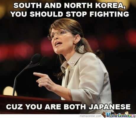Funny Sarah Palin Pictures: Sarah Palin on North Korea vs. South Korea