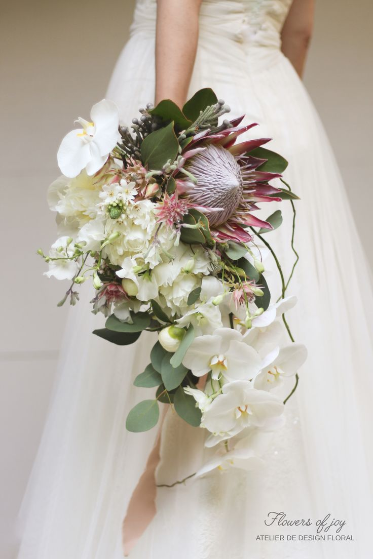 Perfect bouquet with protea and orchids