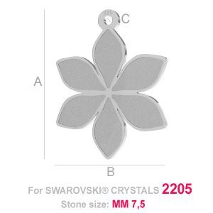 Silver flower-shaped base for Swarovski Crystals 2205 MM 7,5 FLOWER CHARM (2205 MM 7,5) A=19,20 mm; B=15,00 mm; C=1,20 mm, sterling silver (AG-925)