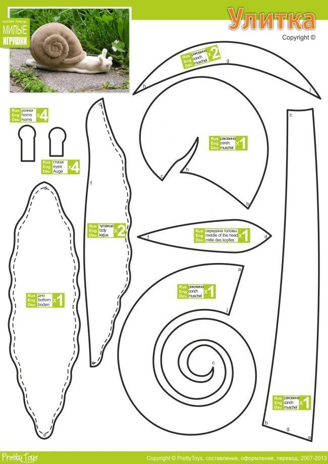 Molde para Caracol de pelúcia - Snail Softie