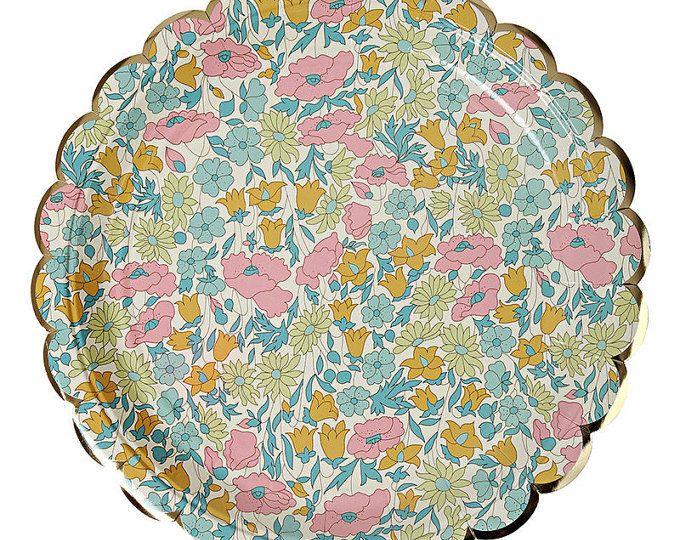 Liberty Poppy & Daisy Large Plates (8), Meri Meri Liberty Paper Plates, 9x9 Floral Paper Plate with Gold Scallop Edge, Floral Wedding Decor