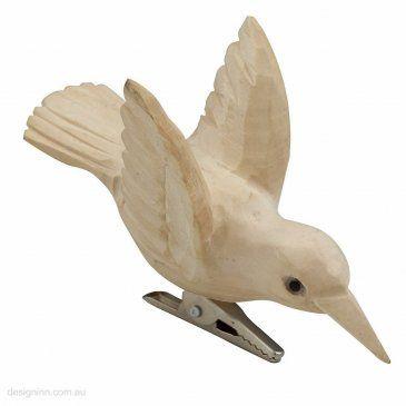 Humming Bird Carved Wood 10cm