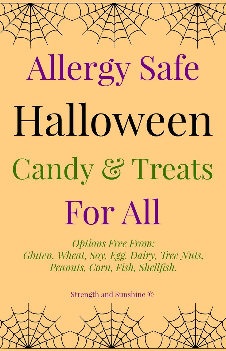 Allergy safe Halloween candy & treats for all! Options free from: Gluten, Wheat, Soy, Egg, Dairy, Tree Nuts, Peanuts, Corn, Fish, Shellfish.