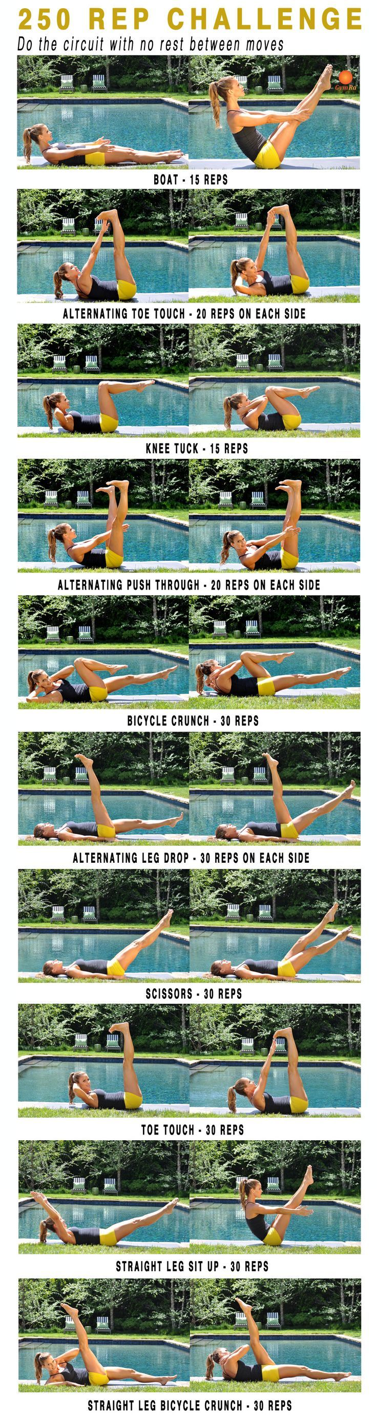 cool 250 rep challenge! Trim, tuck, and tone your #abs....