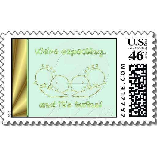 Baby shower invitation We are expecting twins Postage Stamp