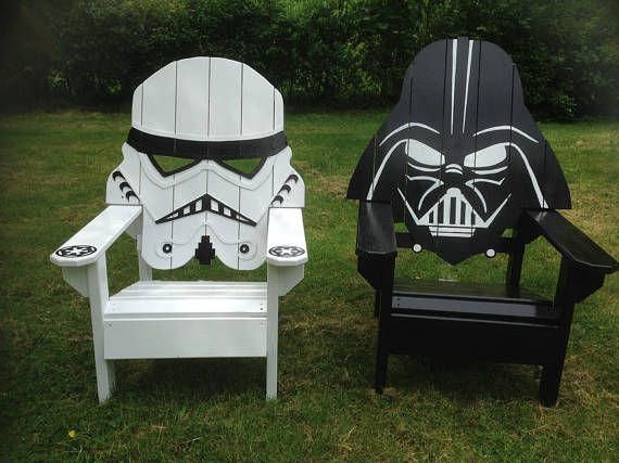 Darth Vader Adirondack Chair Painted Version Star Wars Themed Chair Storm Trooper Big Man Chair Gaming Patio Furniture Garden Seating Adirondack Chairs Painted Star Wars Theme Kids Adirondack Chair
