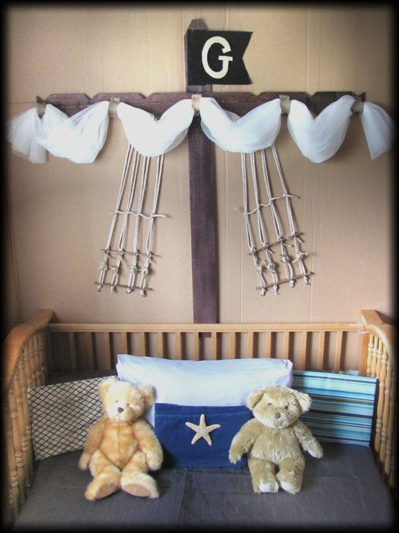 Bed CriB canopy rustic BOYS Pirate Ship design by SoZoeyBoutique