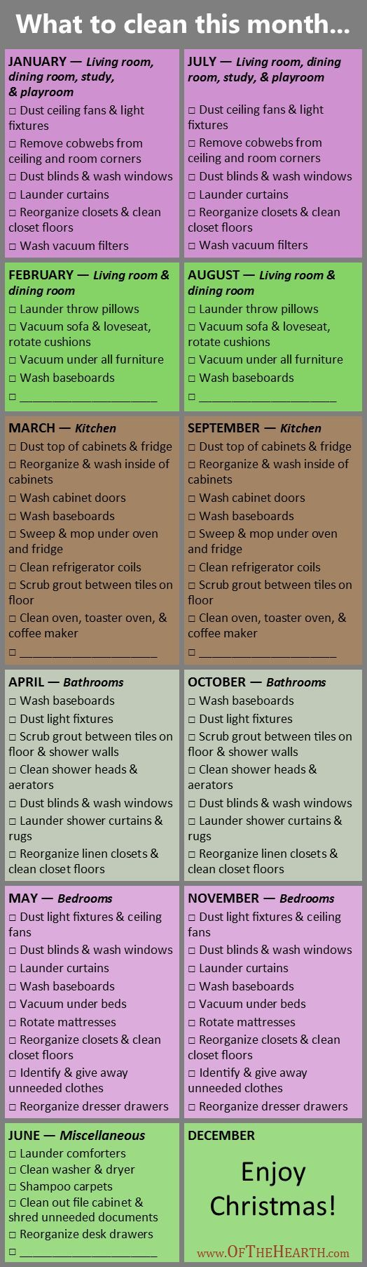 Deep Cleaning Schedule 2016 | My rotating cleaning schedule has created order in many of our homes. See how readers have customized it and download an editable version for yourself.: