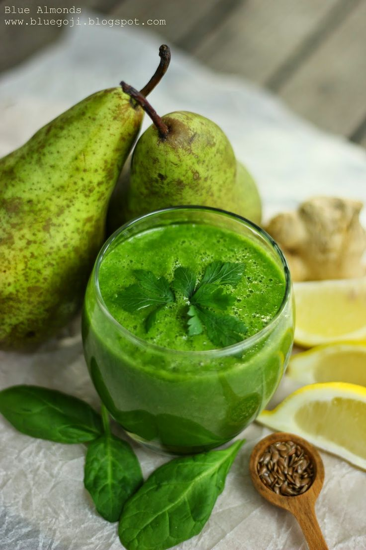 Koktajl Szpinak, Gruszka & Imbir / Spinach, Pear and Ginger Smoothie (raw vegan)