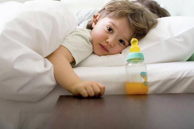 Tooth decay in infants and very young children is often referred to as baby bottle tooth decay. This tooth decay happens when sweetened liquids or those with natural sugars (like milk, formula, and fruit juice) cling to an infant's teeth for a long time. Bacteria in the mouth thrive on this sugar and make acids that attack the teeth. One way to prevent this? Never allow your child to fall asleep with a bottle containing anything but water. -via WebMD