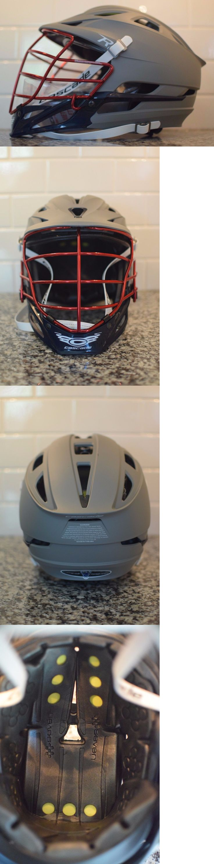 Protective Gear 62164: Cascade R Lacrosse Helmet - Matte Gray With Navy Chin And Red Chromanium Facemask -> BUY IT NOW ONLY: $225 on eBay!