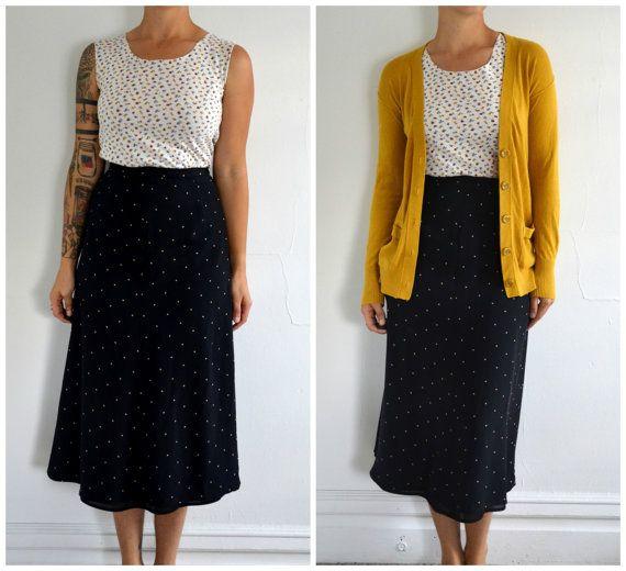 Vintage Black Long Hipster  Skirt With Beige by mynameiskorrine, $15.00