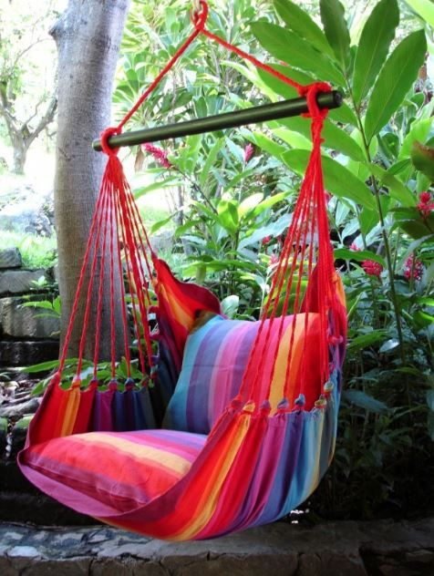 Multi-Colored hanging Hammock Chairs-All you need is something cold in a long glass