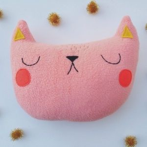 Sleepy King's Watermelon the Cat pillow $30 - so many other cute/kawaii plush/softies here, too. #gifts #nursery #pillow #handmade #gift #baby #kids #bedroom #cat #kitten #softie #embroidery #plush @bigcartel