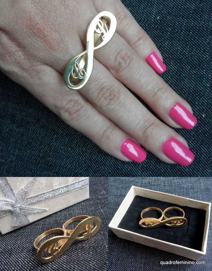 @Onecklace - anel duplo infinito inicial banhado a ouro 24 k