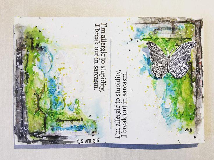 "212 gilla-markeringar, 12 kommentarer - Melina Dahl 🇸🇪 (@minaskreativa) på Instagram: ""Quick and easy art journal spread, process video on my YouTube channel. Stamps from @rubberdance…"""
