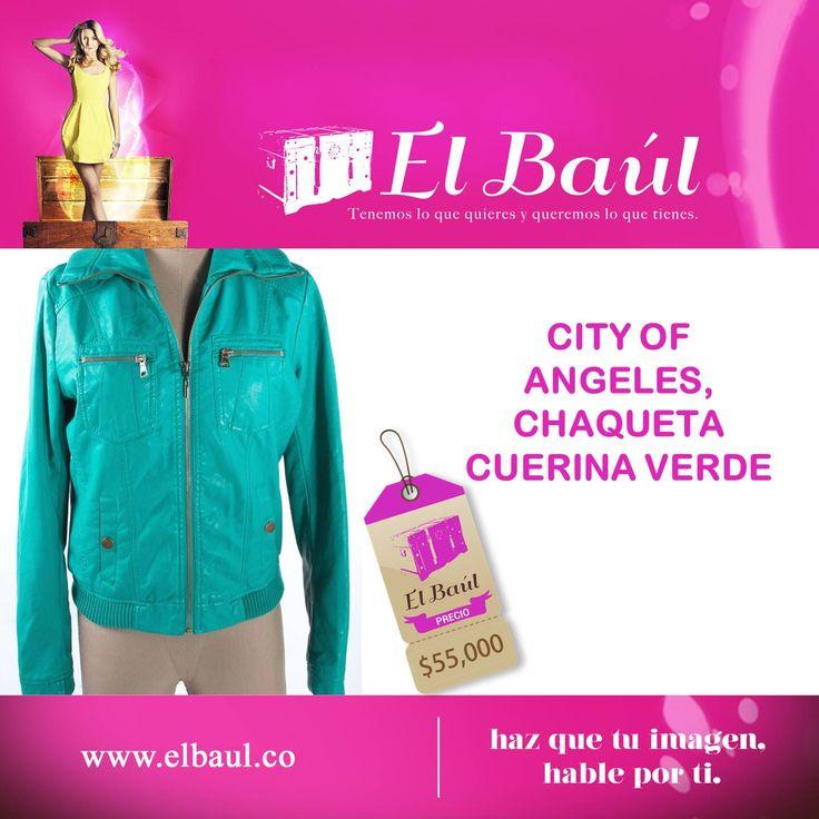 City of Angeles, chaqueta verde, ordenalo y recíbelo cómodamente desde tu casa. $55,000  http://elbaul.co/Productos/1469/City-of-Angeles,-chaqueta-cuerina-verde-