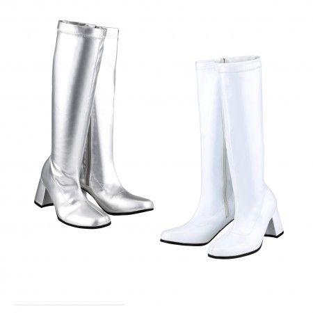 ON SALE!!! - £22.99 - Fancy Dress Gogo 60s 70s White & Silver Retro Gogo Boots  Buy here: https://sowestfancydress.com/products/footwear/fancy-dress-gogo-party-60s-70s-white-silver-retro-gogo-boots-sizes-3-4-5-6-7-8/