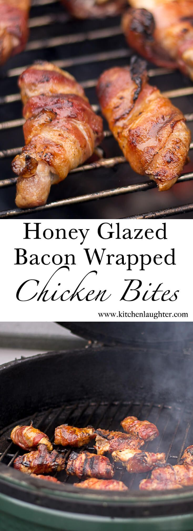 Honey Mustard Glazed Bacon Wrapped Chicken Bites