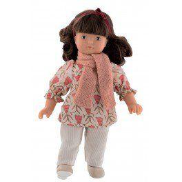 #Poupée brune #Clarisse très coquette, dans son ensemble de vêtements assortis : Tunique, pantalon, écharpe, ruban dans les cheveux et chaussures. #poupéebruneclarisse #fille