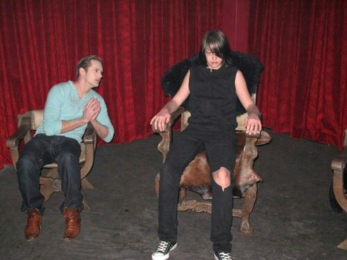 Alexander Skarsgard and Valter Skarsgard True Blood set