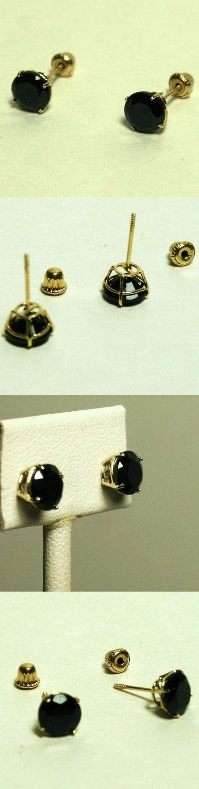 Gemstone 164321: 14K Solid Yellow Gold Natural 8Mm Black Onyx Stud Screw Back Earrings BUY IT NOW ONLY: $41.0