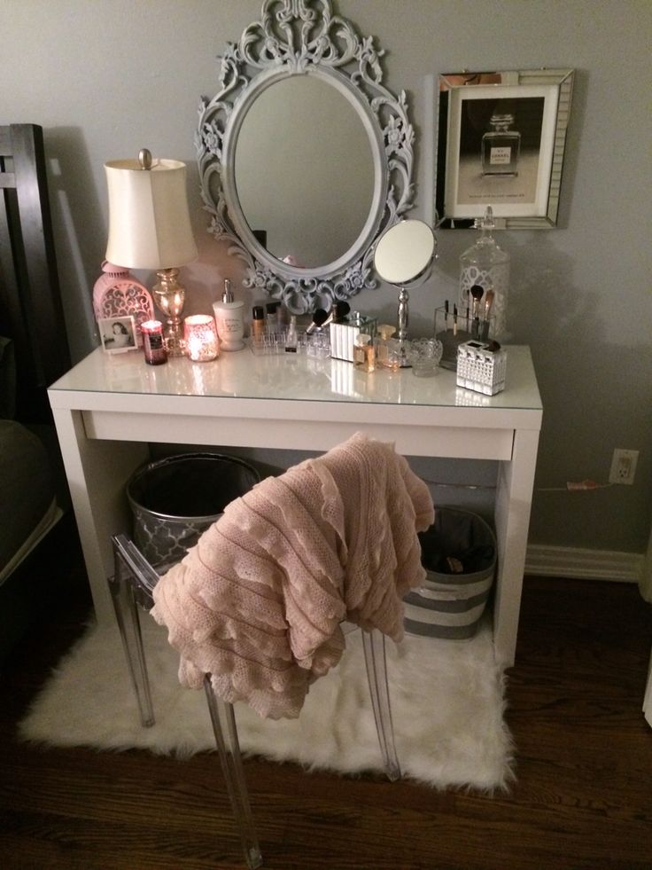 vanity table for small space. ikea malm dressing table. great vanity! vanity table for small space