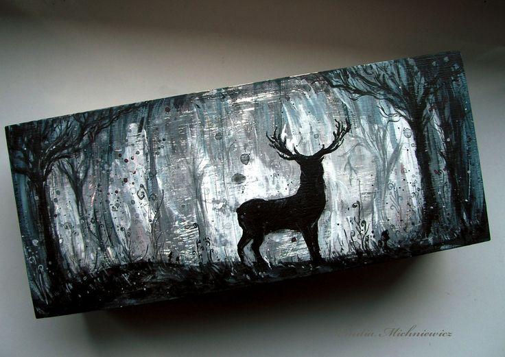 Hand painted wodden box- Horned Master of Forest  www.facebook.com/EMsilverART