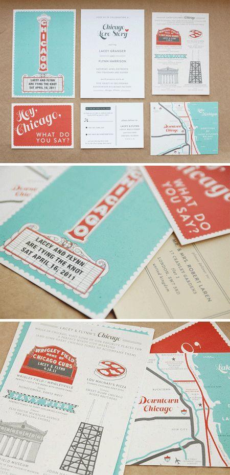 Chicago Landmarks Wedding Invites. nicely designed