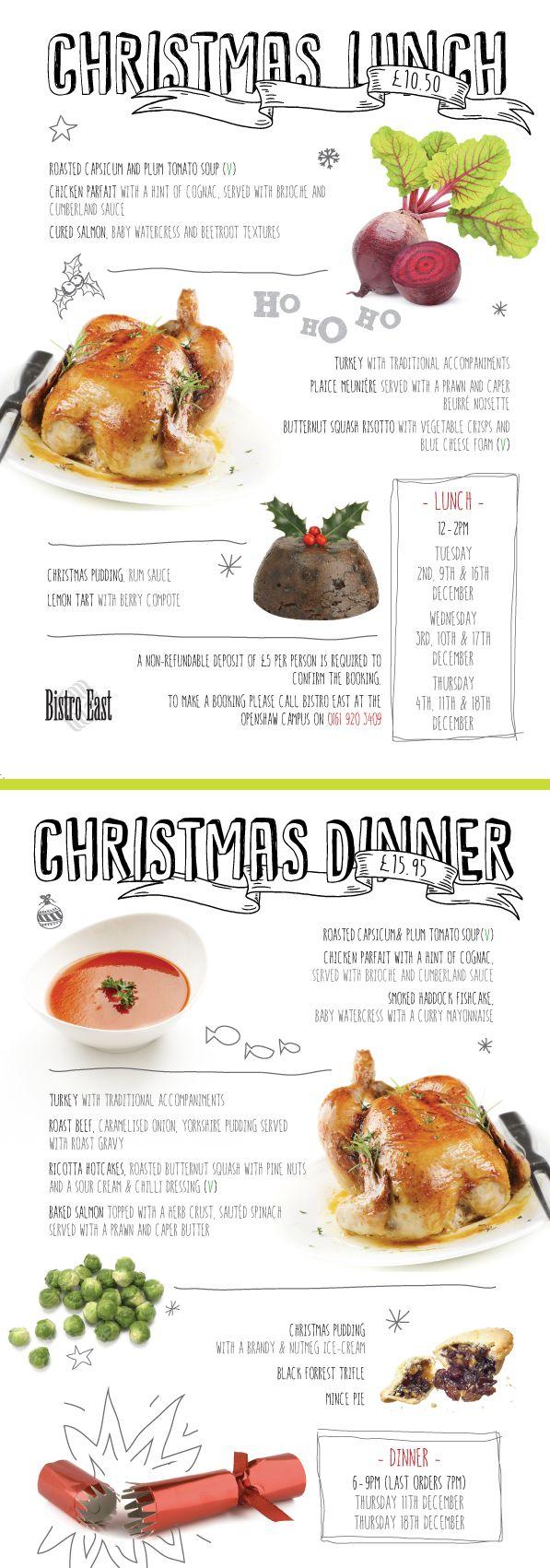Christmas menu. Created by Sarah Cleworth